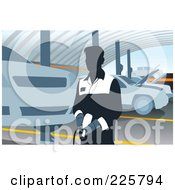 Royalty Free RF Clipart Illustration Of A Car Mechanic Using A Pneumatic Gun by David Rey