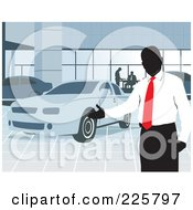 Royalty Free RF Clipart Illustration Of A Car Salesman Presenting A Car In A Show Room