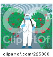 Royalty Free RF Clipart Illustration Of A Hydrophonics Gardener With Tomato Plants