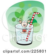 Royalty Free RF Clipart Illustration Of A Drowning Boy In A Cup Of Water by David Rey