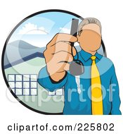 Royalty Free RF Clipart Illustration Of A Faceless Realtor Holding A House Key by David Rey