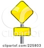 Royalty Free RF Clipart Illustration Of Two Yellow Road Signs On A Pole by David Rey