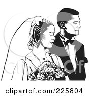 Royalty Free RF Clipart Illustration Of A Black And White Wedding Couple 2 by David Rey