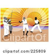 Royalty Free RF Clipart Illustration Of A Capoeira Of Music And Martial Arts On A Beach
