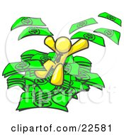 Clipart Illustration Of A Yellow Business Man Jumping In A Pile Of Money And Throwing Cash Into The Air