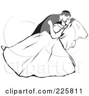 Royalty Free RF Clipart Illustration Of A Black And White Wedding Couple 3