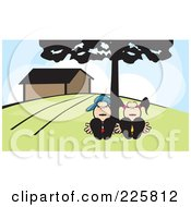 Royalty Free RF Clipart Illustration Of A Couple Sleeping Under A Tree by David Rey