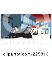 Royalty Free RF Clipart Illustration Of Police Men With A Car by David Rey