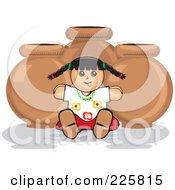 Royalty Free RF Clipart Illustration Of A Mexican Doll Against Pottery