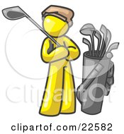 Yellow Man Standing By His Golf Clubs by Leo Blanchette