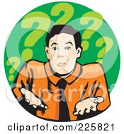 Royalty Free RF Clipart Illustration Of A Businessman Shrugging On Green With Question Marks by David Rey