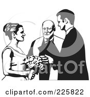 Royalty Free RF Clipart Illustration Of A Black And White Wedding Couple 1