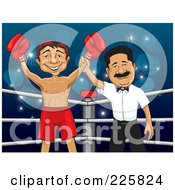 Royalty Free RF Clipart Illustration Of A Successful Boxer In A Ring