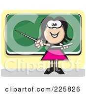 Royalty Free RF Clipart Illustration Of A Female Teacher And Chalk Board