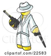 Yellow Gangster Man Carrying A Gun And Leaning On A Cane