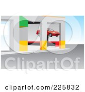 Royalty Free RF Clipart Illustration Of A Car On A Lift In A Repair Garage
