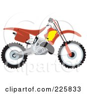 Royalty Free RF Clipart Illustration Of A Red Dirt Bike