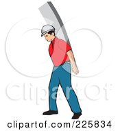 Royalty Free RF Clipart Illustration Of A Construction Worker Carrying A Wood Board