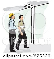 Royalty Free RF Clipart Illustration Of Inspectors Checking Out A Building by David Rey