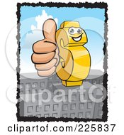 Royalty Free RF Clipart Illustration Of A Dollar Symbol Holding A Thumb Up by David Rey