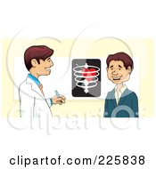 Royalty Free RF Clipart Illustration Of A Doctor Discussing The Heart With A Patient by David Rey