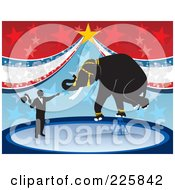 Royalty Free RF Clipart Illustration Of A Elephant Balanced On A Stool In A Circus by David Rey