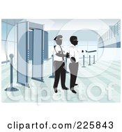 Royalty Free RF Clipart Illustration Of An Airport Security Man Padding Down A Man by David Rey