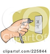 Royalty Free RF Clipart Illustration Of A Hand Inserting A Plug Into A Socket