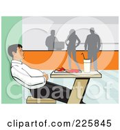 Royalty Free RF Clipart Illustration Of A Man Holding His Tummy After Eating Lunch In A Cafeteria by David Rey