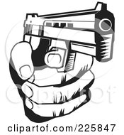 Royalty Free RF Clipart Illustration Of A Black And White Hand Holding A Gun