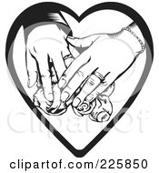Royalty Free RF Clipart Illustration Of A Couples Hands Over Roses On A Heart by David Rey