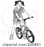 Royalty Free RF Clipart Illustration Of A Grayscale Girl On A Bicycle by David Rey