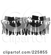 Royalty Free RF Clipart Illustration Of A Silhouetted Crowd Rioting by David Rey