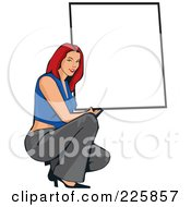 Royalty Free RF Clipart Illustration Of A Professional Woman Presenting A Blank Sign 2 by David Rey