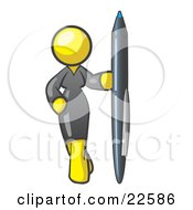 Clipart Illustration Of A Yellow Woman In A Gray Dress Standing With One Hand On Her Hip Holding A Huge Pen by Leo Blanchette