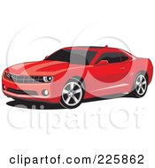 Royalty Free RF Clipart Illustration Of A Red Camaro Car With Black Tinted Windows