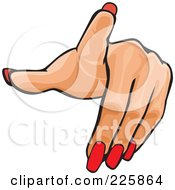 Royalty Free RF Clipart Illustration Of A Womans Hand With Red Finger Nails Pointing