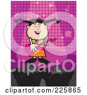 Royalty Free RF Clipart Illustration Of A Celebrity Girl Singing And Playing A Guitar On Stage by David Rey