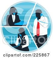 Royalty Free RF Clipart Illustration Of Silhouetted Business Women And A Man Talking On Phones In A Circle by David Rey