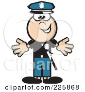 Royalty Free RF Clipart Illustration Of A Police Man Holding His Arms Out by David Rey