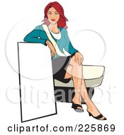 Royalty Free RF Clipart Illustration Of A Professional Woman Presenting A Blank Sign 4 by David Rey