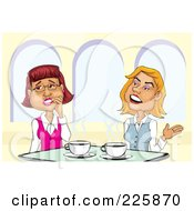 Royalty Free RF Clipart Illustration Of A Two Businesswomen Gossiping Over Coffee by David Rey