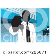 Royalty Free RF Clipart Illustration Of A Businessman Holding Out A Key by David Rey