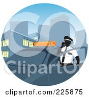 Royalty Free RF Clipart Illustration Of A Police Man Standing By His Car And Making A Call by David Rey