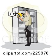 Royalty Free RF Clipart Illustration Of A Man Using A Drill To Install Shelving by David Rey