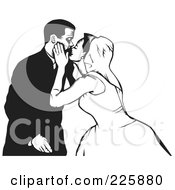 Royalty Free RF Clipart Illustration Of A Black And White Wedding Couple 4 by David Rey