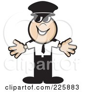 Royalty Free RF Clipart Illustration Of A Pilot Man Holding His Arms Out
