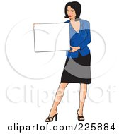 Royalty Free RF Clipart Illustration Of A Professional Woman Presenting A Blank Sign 3 by David Rey