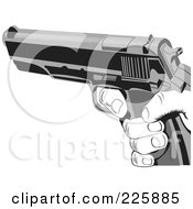Royalty Free RF Clipart Illustration Of A Grayscale Hand Holding A Gun