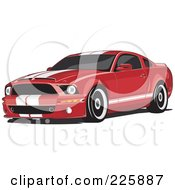 Royalty Free RF Clipart Illustration Of A Red Mustang With White Racing Stripes